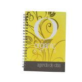 Tampa de plástico amarelo personalizados exercício espiral caderno de redação de impressão do notebook