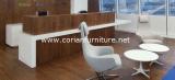 Bureau de réception en bois extérieur solide blanc de glacier pour le bureau