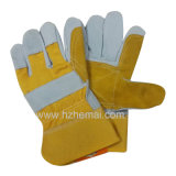 Gant fendu de travail de sûreté de protection de main de gants en cuir de double vache à paume