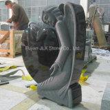 Headstones neri europei di disegno del cuore di angelo del granito