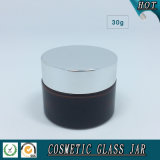 choc crème en verre des produits de beauté 30ml ambres avec les couvercles en aluminium