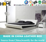Горяч-Продающ европейскую самомоднейшую белую кровать неподдельной кожи для дома (HC326)
