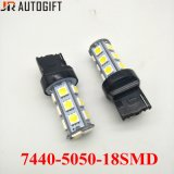 bulbos do diodo emissor de luz do sinal de volta da lâmpada 5050 18SMD T20 do carro 12V/24V