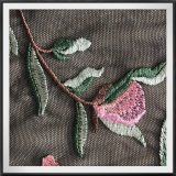 ナイロン網の刺繍のレースの黒の網の刺繍のレースの花の刺繍のレース