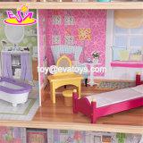 A casa de madeira luxuoso e atrativa do projeto novo de 34 meninas das partes da mobília de boneca brinca W06A217