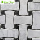 カラーラの白い骨デザイン白い大理石のモザイク・タイル