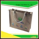 Bolso de compras modificado para requisitos particulares del totalizador del yute con la maneta de papel cerrada cremallera