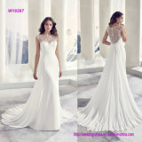 Robe de mariage perlée et en arrière plissée luxueuse