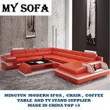 Moderne Möbel-Freizeit-ledernes geschnittensofa