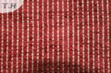 赤いカラーの2015年のポリエステルヤーンの染められたジャカードソファーファブリック
