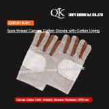 SICHERHEITS-Baumwollhandschuhe des Segeltuch-K-92 Arbeitsmit Baumwollfutter