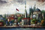 Pittura a olio dipinta a mano di paesaggio della Turchia da Knife