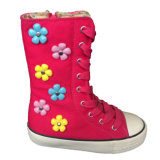 Cosplay Pink Canvas Fabric Girls / Boys Shoes com flores de plástico colorido