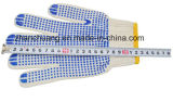 Blanchi et le PVC a pointillé les gants fonctionnants tricotés par coton blanc