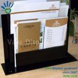 Houder van de Brochure van de Desktop de Duidelijke AcrylA5 met Dubbele Zakken voor het Restaurant van het Hotel