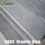 G603 중국 Rosa Anti-Slip 금속을%s 가진 beta 회색 화강암 단계 또는 층계 또는 보행
