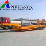 Transporte de máquinas pesadas del eje tres remolque cama baja