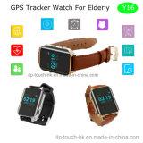 As pessoas idosas prestam atenção com o monitor da frequência cardíaca e o perseguidor do GPS (Y16)