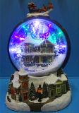 """Décoration de Noël de résine 12 LED """" bonhomme de neige à l'intérieur de la scène avec neige, 8 morceaux de musique de soufflage"""