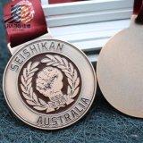 A annoncé le métal en bronze fait sur commande en alliage de zinc gravent la médaille en relief de karaté pour Austrilia