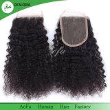 Cabelos crespos Cabelos Brasileiro Remy Acessório de cabelo humano queratina Encerramento de cabelo
