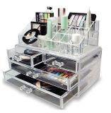 Venda por grosso de jóias em acrílico transparente todo o armazenamento de maquiagem Batom Eyelash Organizador esponja com gavetas