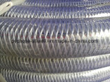 Tuyau transparent clair de l'eau de spirale de fil d'acier de PVC de plastique