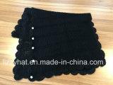 Moda Crochê lenço de malha em acrílico com botões de pérola