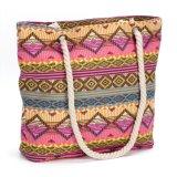 Primavera e Verão Saco de ombro com lona saco de praia de impressão Senhoras Bolsas Geométricas