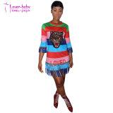 Dépouillé paillettes colorés Fringe Tiger shirt robe