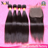 O melhor cabelo peruano do Virgin em linha reta com fechamento 3 pacotes do fechamento reto peruano do laço com cabelo empacota o cabelo humano peruano