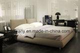 Moderne Art-Schlafzimmer-Möbel-hölzernes ledernes doppeltes Bett (A-B42)