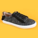 نساء نمط جديدة تصميم أسود يربط [رهينستون] سببيّ فوق حذاء رياضة