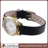 ステンレス鋼の革バンドのスポーツの女性水晶腕時計