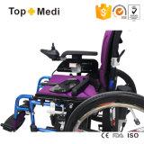 Cadeira de rodas Foldable da energia eléctrica da dobradura resistente de alumínio da roda traseira da forma do dispositivo médico