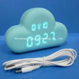 USBの再充電可能で青い雲LEDの目覚し時計の音制御