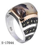 Juwelen 925 van de manier de Zilveren MoslimRing van de Mens met de Steen van Yemen