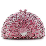 Sacos de noite brilhantes Eb705 da embreagem do pavão da cor-de-rosa do diamante das bolsas européias do estilo