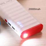 Batería portable de la potencia de batería del USB del cargador 10000mAh 2 con la lámpara del LED