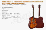 41-дюймовый стеганая верхний лист фанеры Lindenwood тела электрический Акустическая гитара