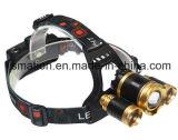O zoom elevado do diodo emissor de luz do CREE de Pwer ajusta o farol da bateria recarregável da caça