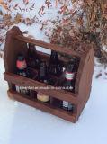 Aduana totalizador de madera de la cerveza de la vendimia de 6 paquetes con el abrelatas
