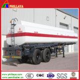 Trois remorque matérielle de camion-citerne aspirateur du combustible dérivé du pétrole d'acier du carbone d'essieux 40-55cbm à vendre