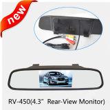 Espelho Retrovisor 4.3inch Monitor, sinal AV Detecção automática ligado/desligado