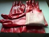 Перчатки красного цвета PVC упорные промышленной промышленные химически,