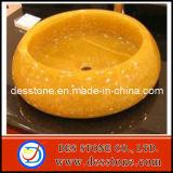Fregaderos amarillos de calidad superior de mármol naturales del lavabo