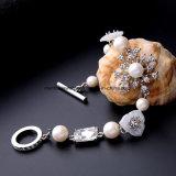 Braccialetto di cristallo di fascino del diamante della nuova di modo perla elegante lussuosa dei monili