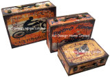 S/3 decoração vintage antigo projeto de carros Imprimir PU couro/Caixa de mala de armazenamento de madeira de MDF