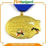 금 도금에 의하여 주문을 받아서 만들어진 최상 스포츠 메달