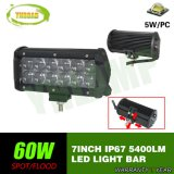 "7 "" barra ligera de conducción de la fila LED del doble del CREE de 4D 60W para el jeep"